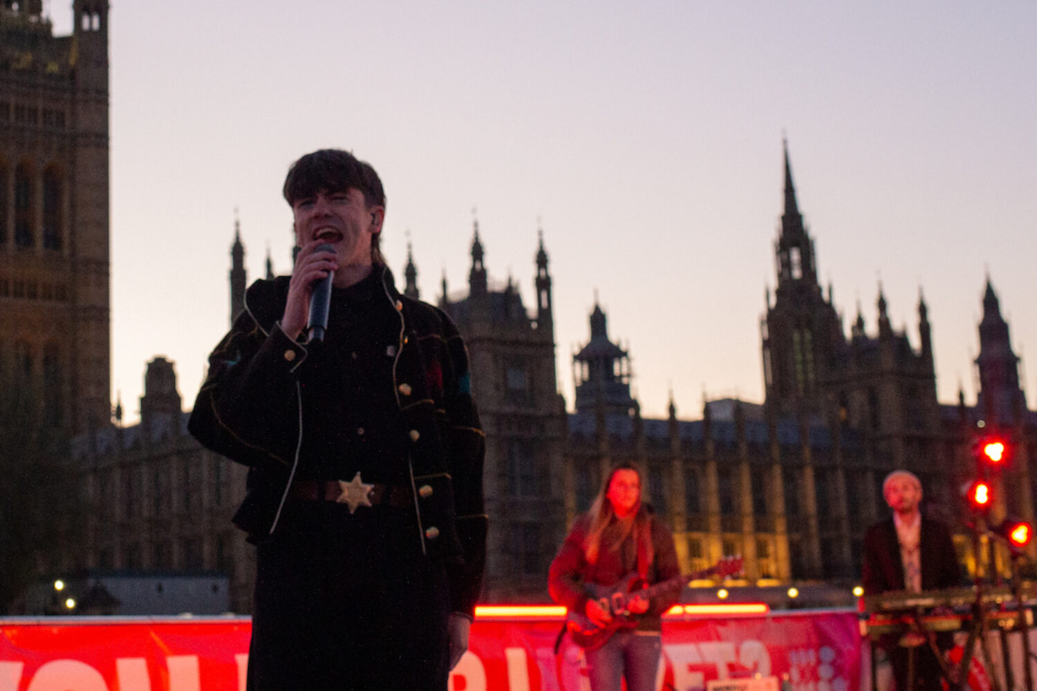 Declan McKenna performs 'British Bombs' outside the Houses of Parliament