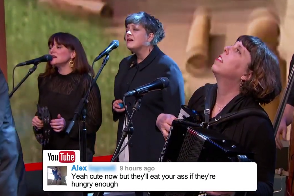 Watch The Decemberists embrace Youtube haters by singing their comments on Kimmel