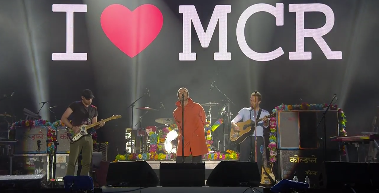 Watch Liam Gallagher play 'Live Forever' with Chris Martin at One Love Manchester