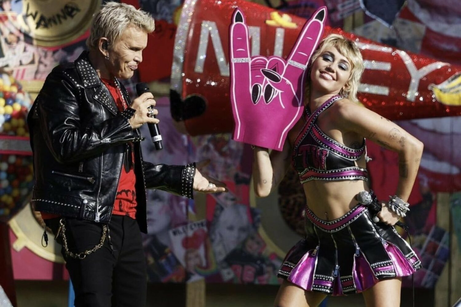 Miley Cyrus performs with Billy Idol and Joan Jett at Super Bowl Tailgate