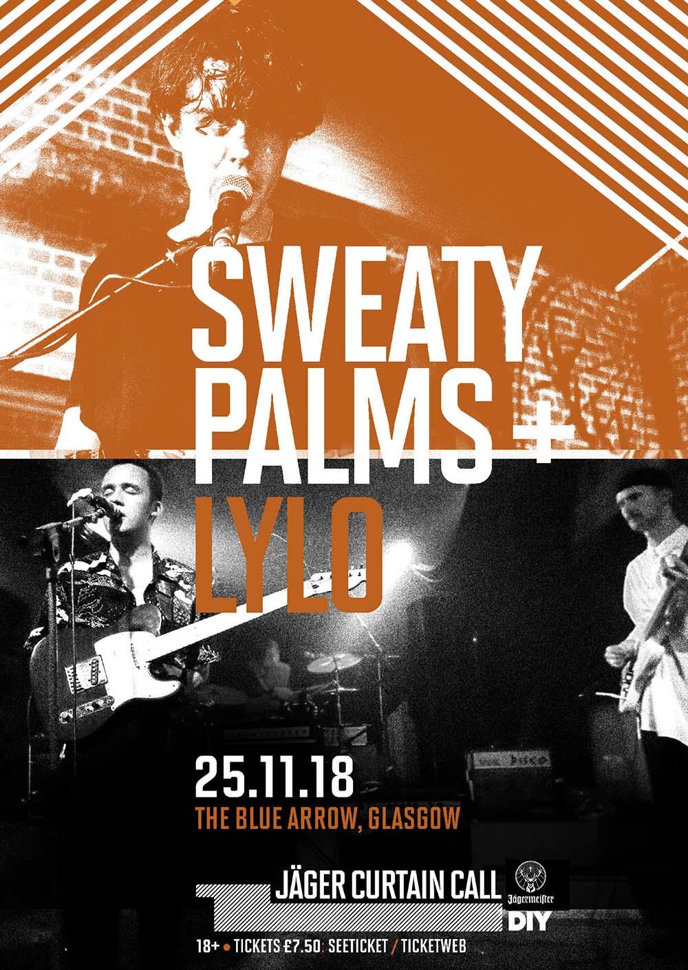 Sweaty Palms and Lylo to play Glasgow's Blue Arrow for Jäger Curtain Call 2018