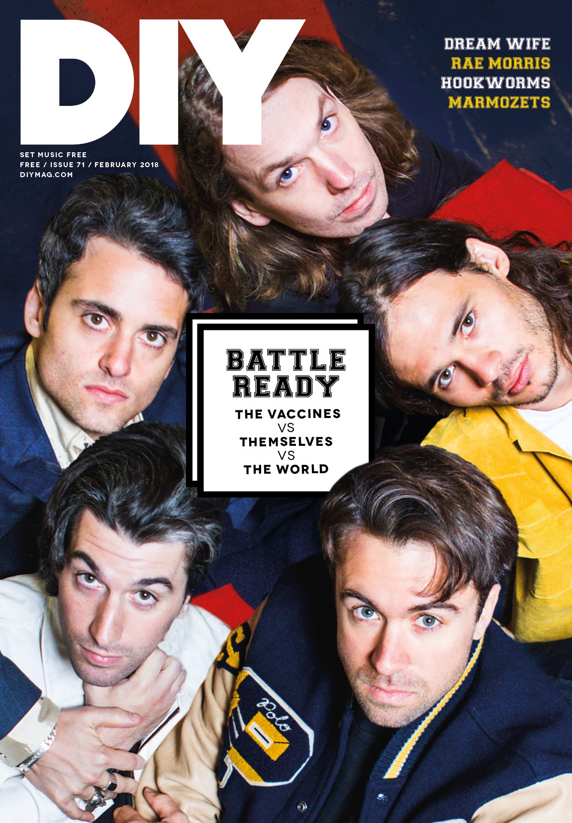 The Vaccines are on the cover of the February issue of DIY!