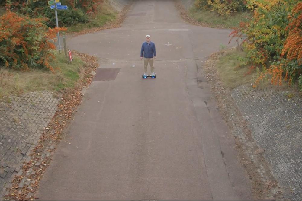 Wesley Gonzalez hoverboards around Milton Keynes in his 'Not That Kind of Guy' video
