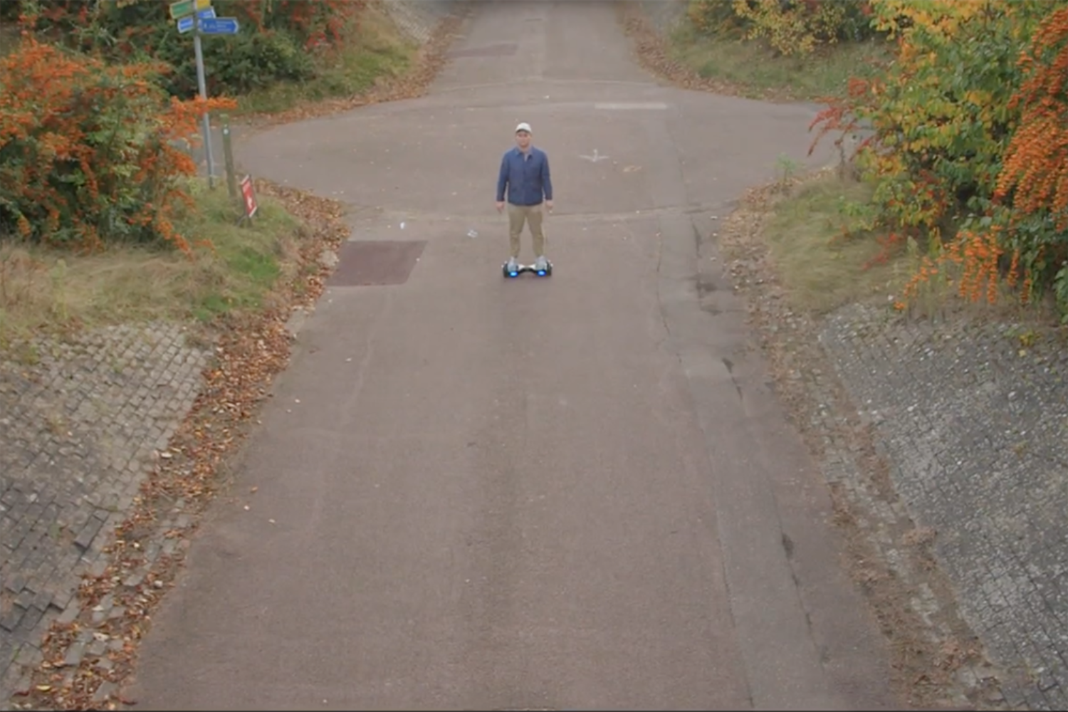 Wesley Gonzalez hoverboards around Milton Keynes in his 'Not That Kind of Guy' video