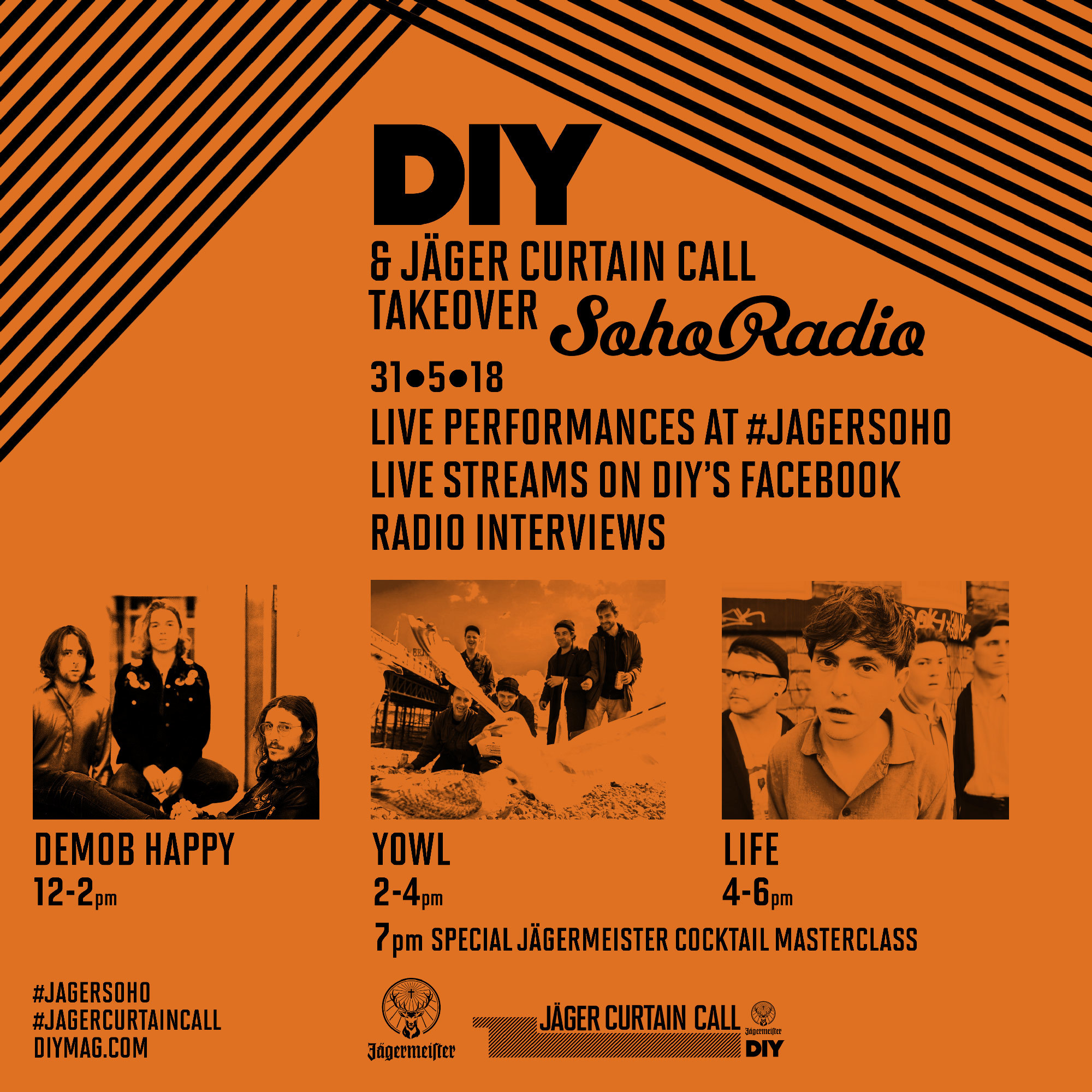 We're bringing Yowl, LIFE and Demob Happy to Soho Radio tomorrow as part of Jäger Curtain Call!