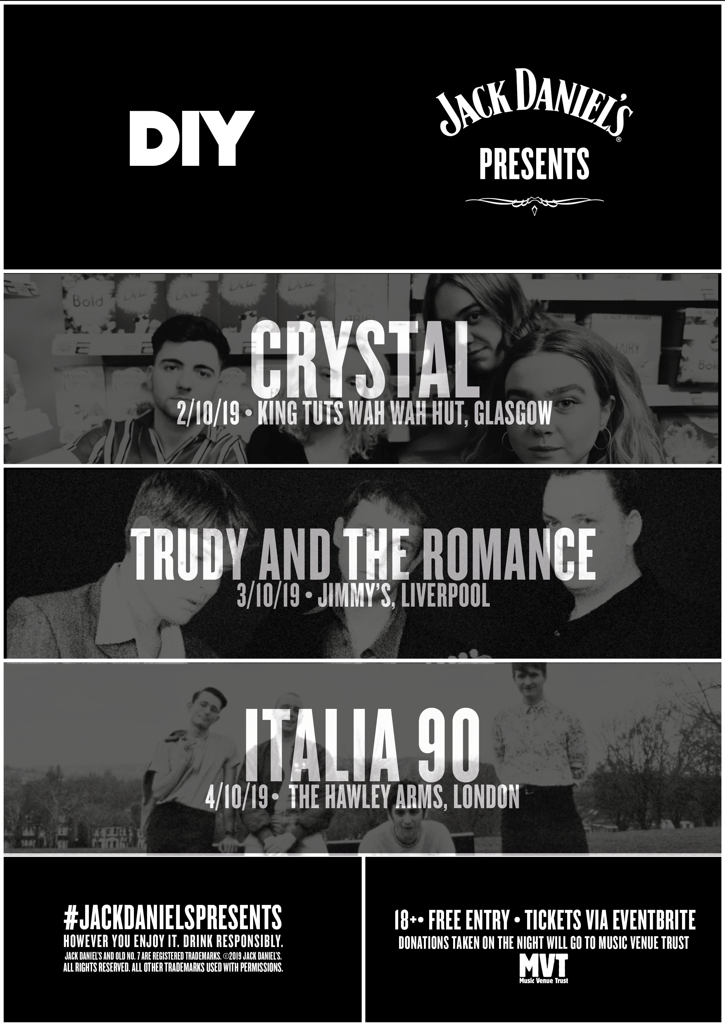 Italia 90, Trudy and the Romance & CRYSTAL for DIY & Jack Daniel's Presents UK mini-tour