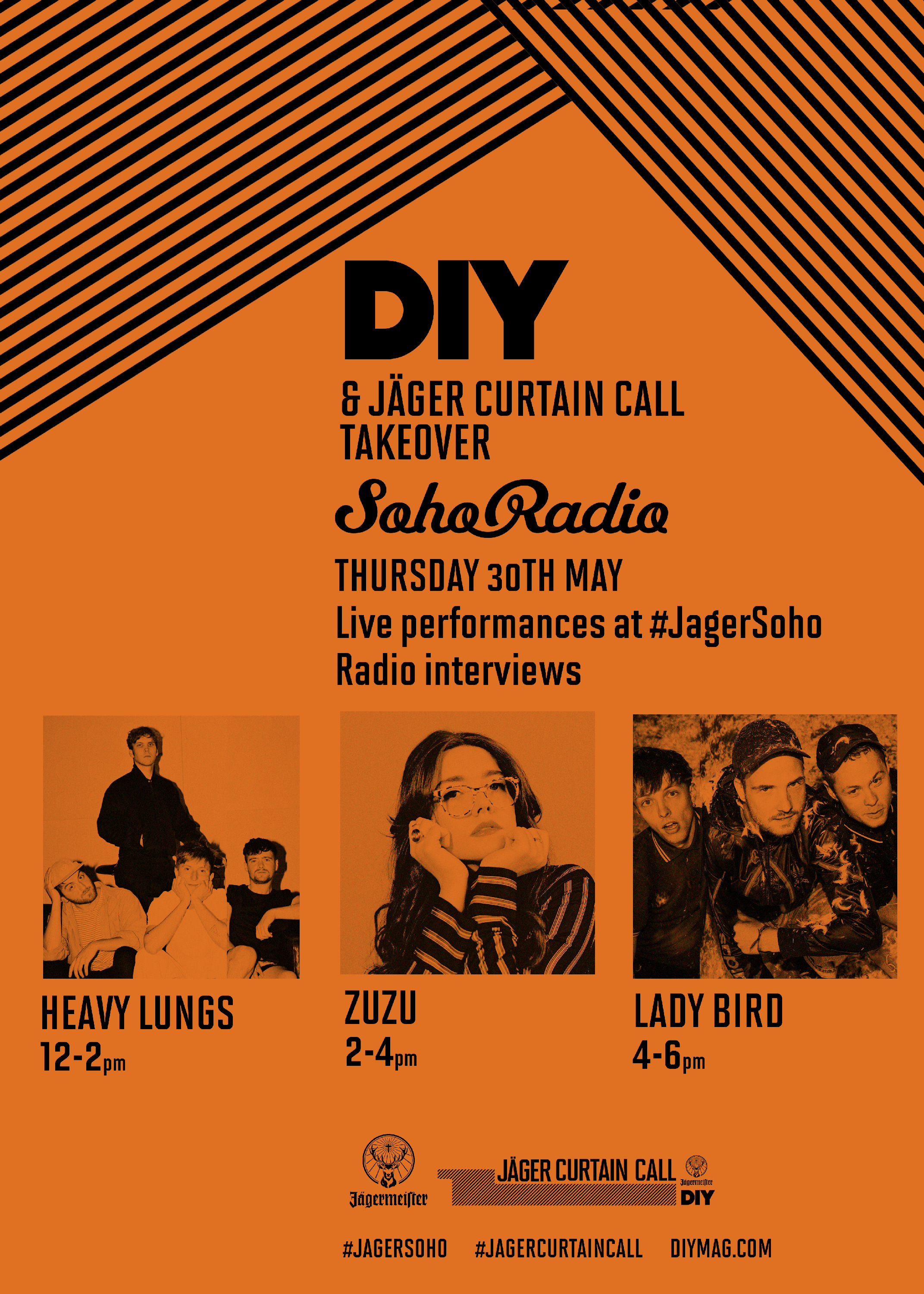 Heavy Lungs, Lady Bird & Zuzu to appear on Soho Radio as part of Jäger Curtain Call