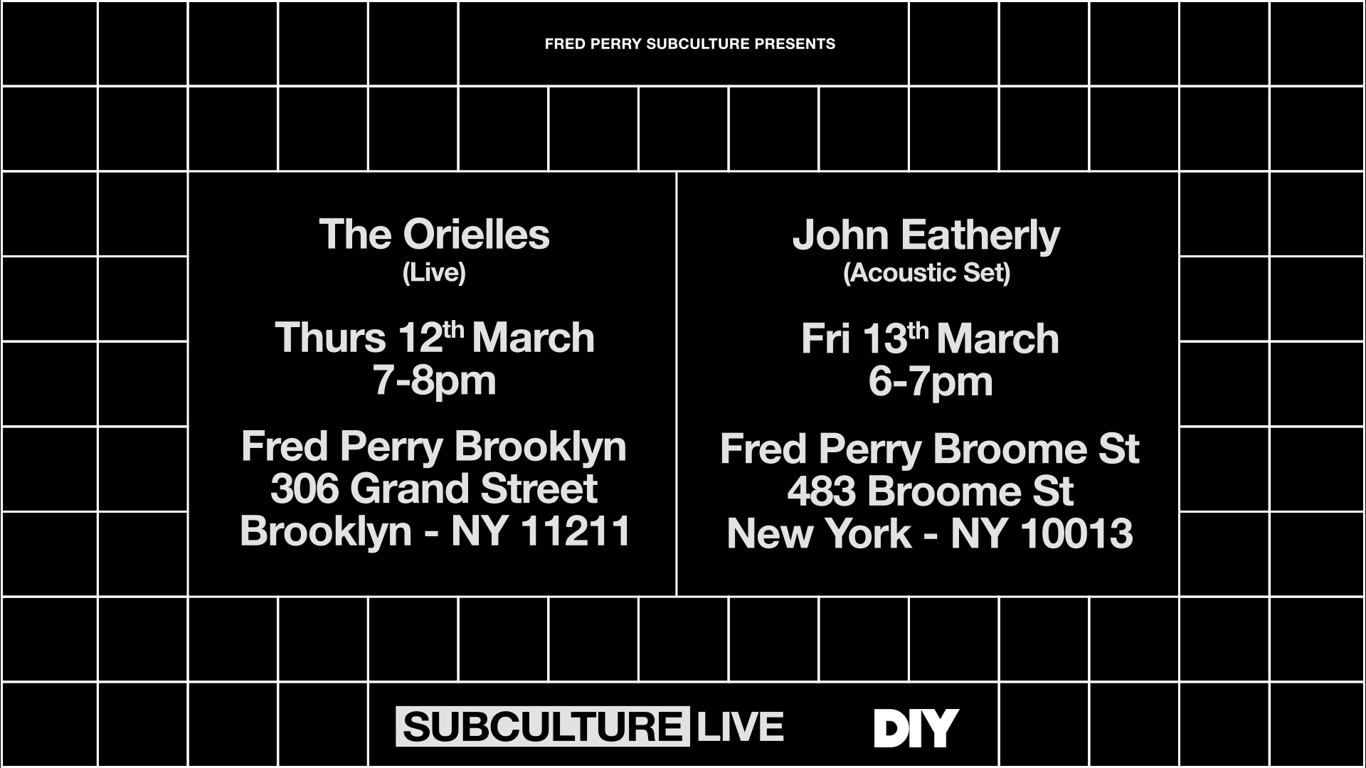 The Orielles & John Eatherly to play special New York in-stores for Fred Perry & DIY