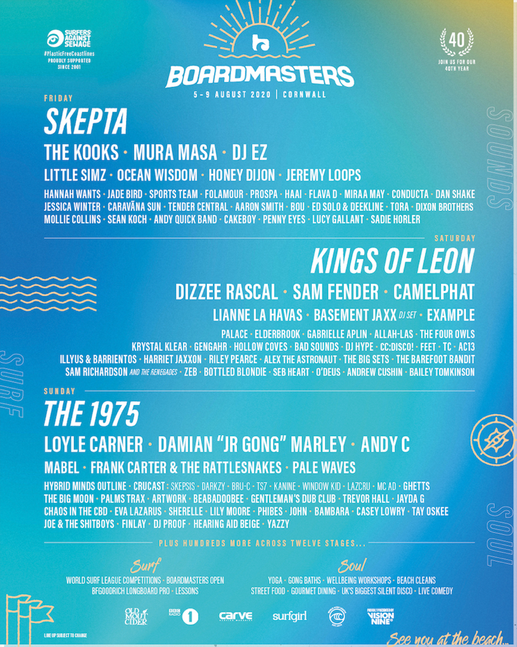 The 1975, Skepta and Kings of Leon for Boardmasters 2020